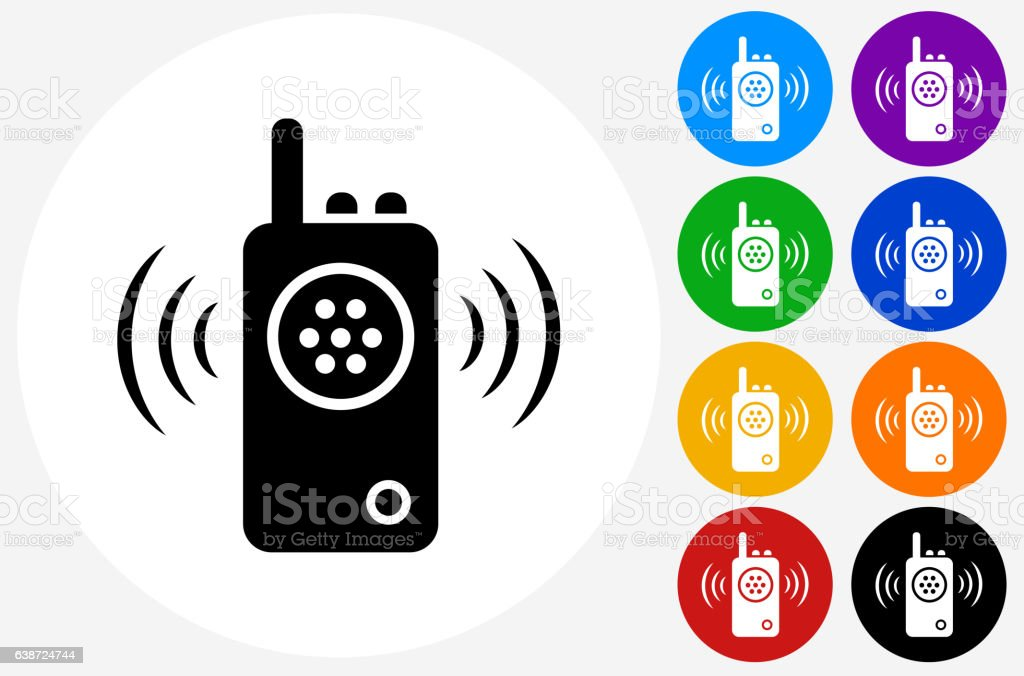 Walkie Talkie Icon on Flat Color Circle Buttons vector art illustration