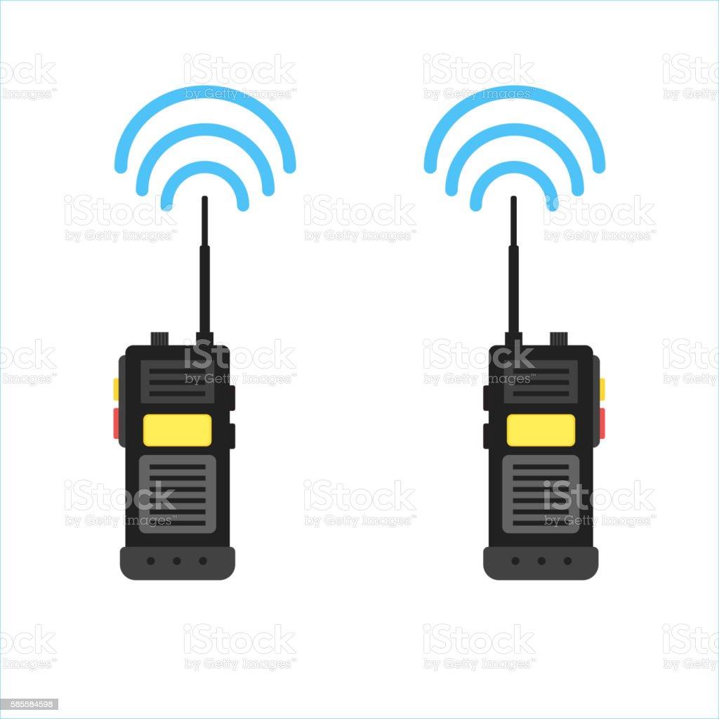 walkie talkie icon. police radio online vector art illustration