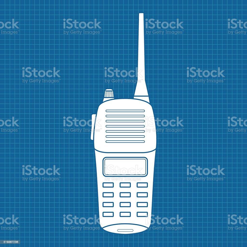Walkie talkie. Radio transceiver vector art illustration