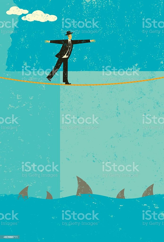 Walking a tightrope royalty-free stock vector art