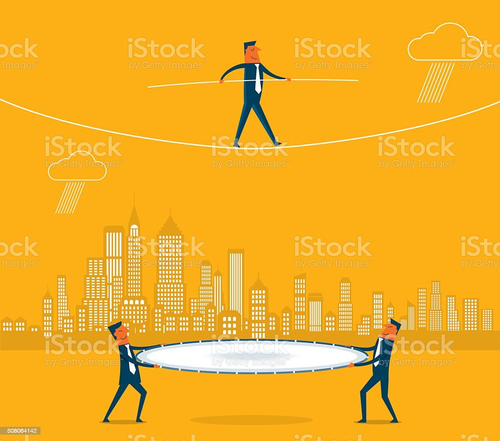 Walking a tightrope vector art illustration