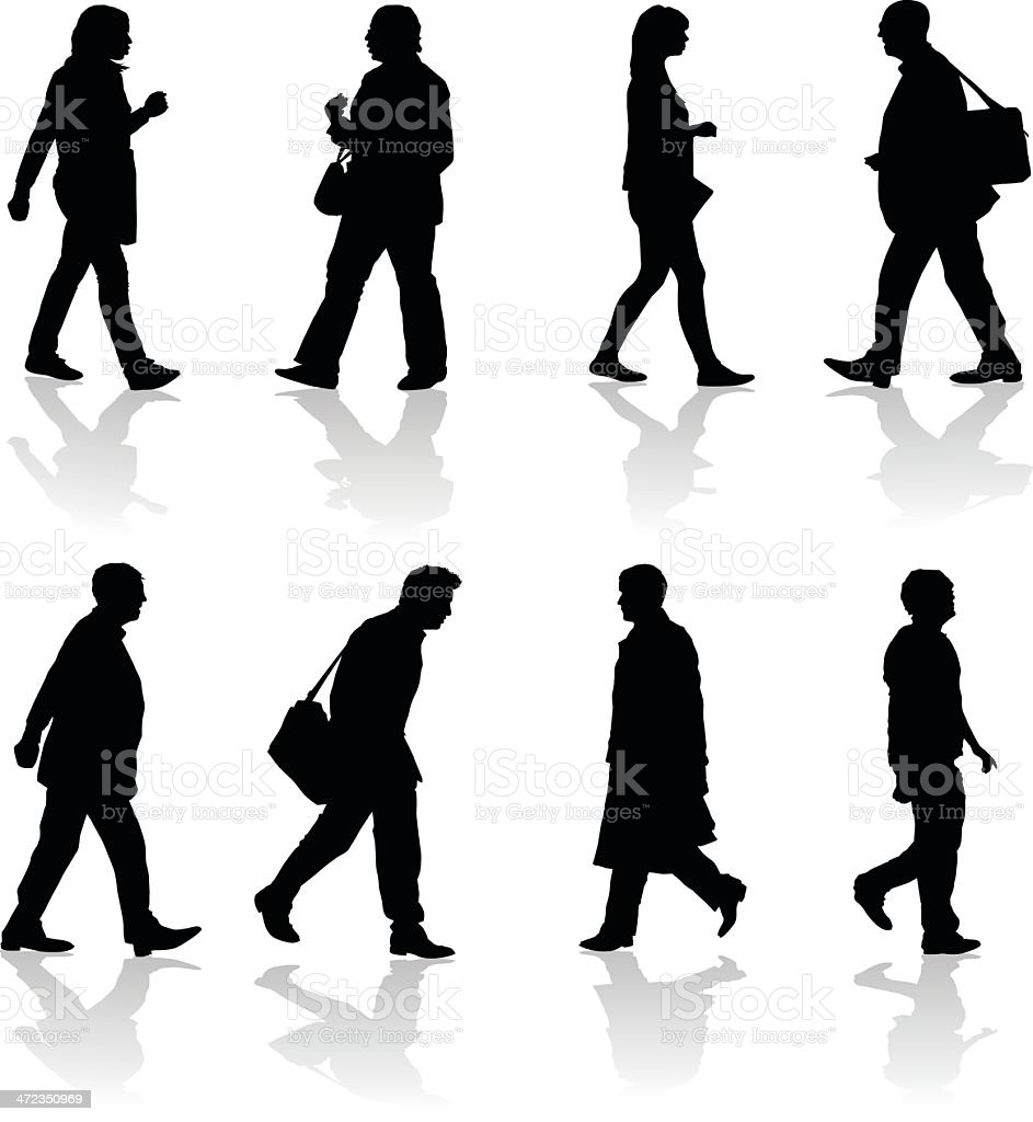 Walking Adults Silhouettes vector art illustration