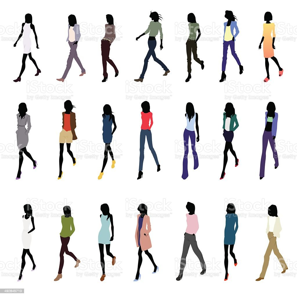 Walking at angle women-colored vector art illustration