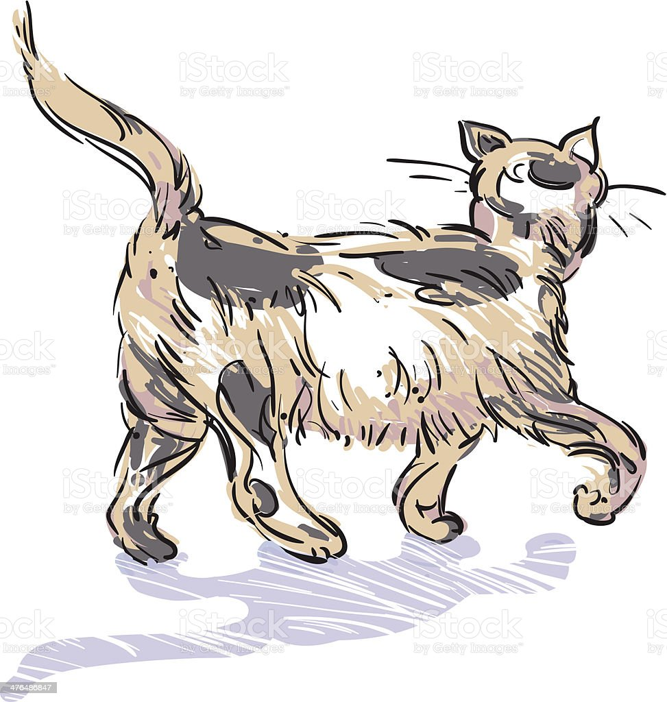 Walking Cat royalty-free stock vector art