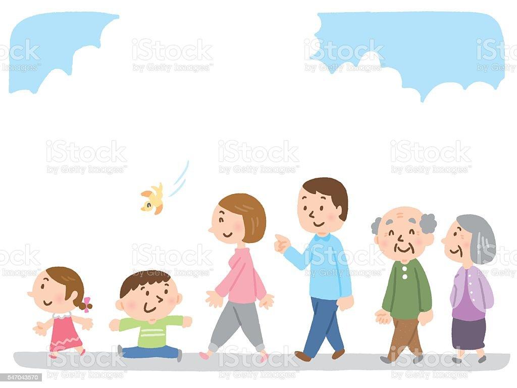walking family vector art illustration
