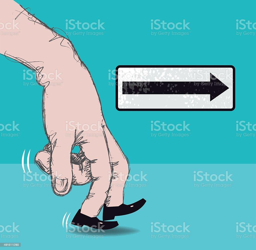 Walking fingers vector art illustration