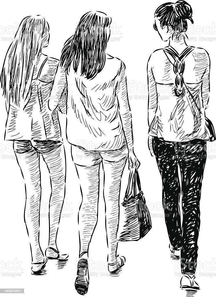 walking girls royalty-free stock vector art