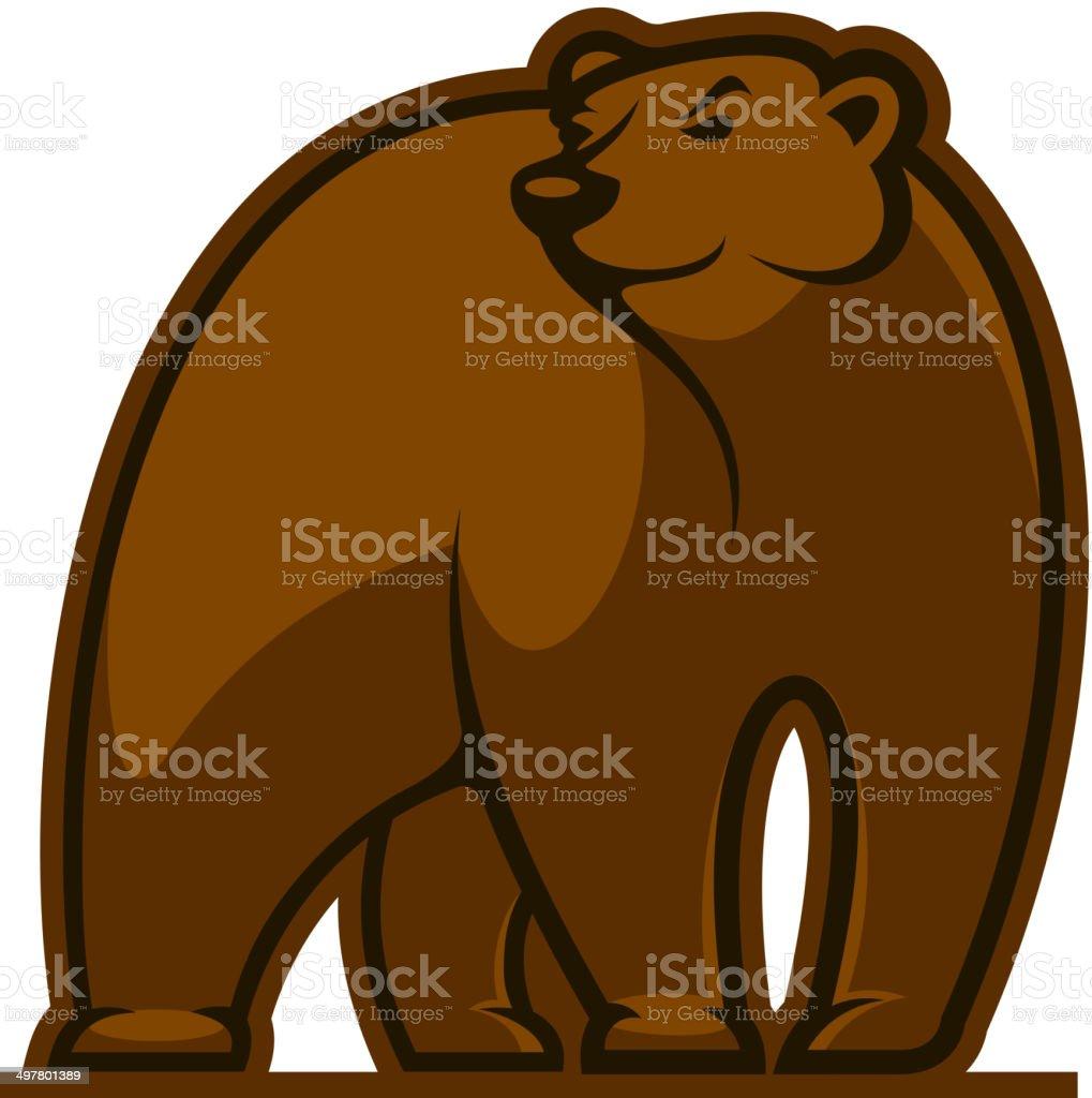 Walking grizzly bear vector art illustration