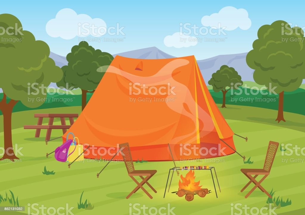 Walking, Hiking or Sports outdoor camping recreation landscape, nature adventures vacation illustration. Tent with fireplace. vector art illustration