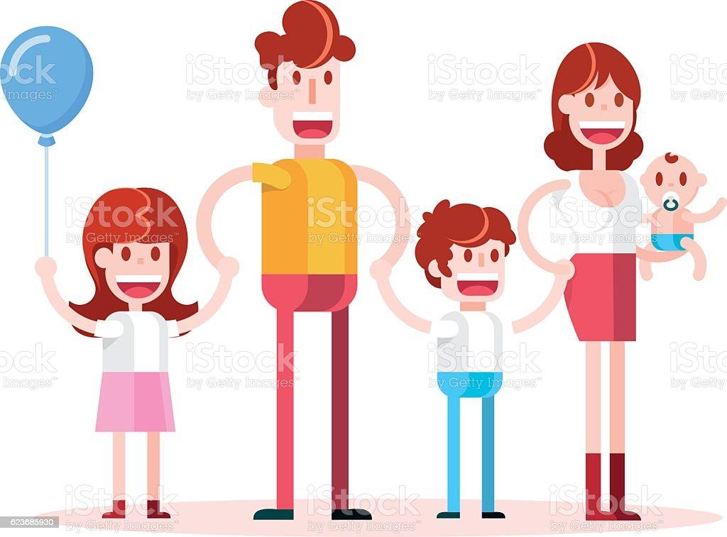 Walking in Family. vector art illustration
