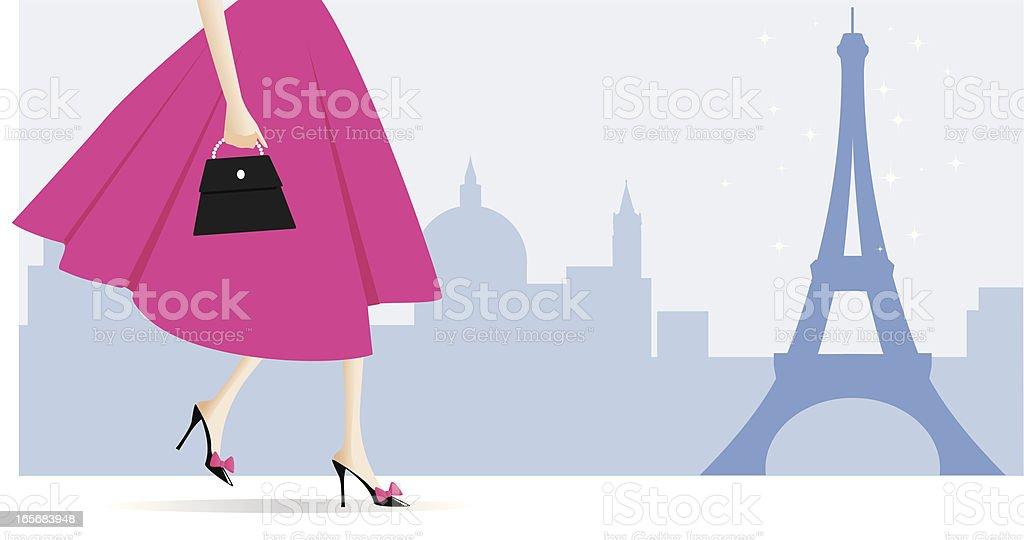 Walking in Paris vector art illustration