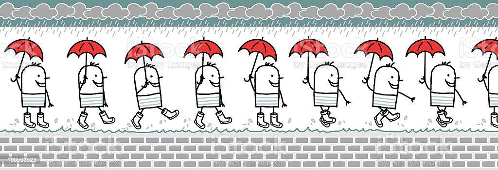 walking man & umbrella stock photo