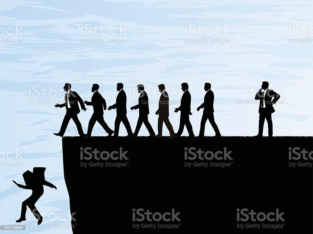 Walking Over a Cliff vector art illustration