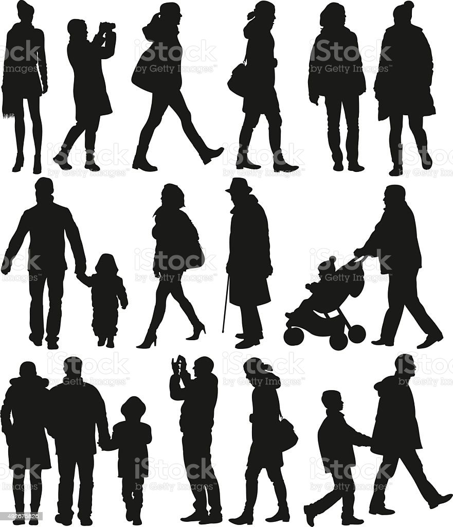 walking people silhouetttes vector art illustration