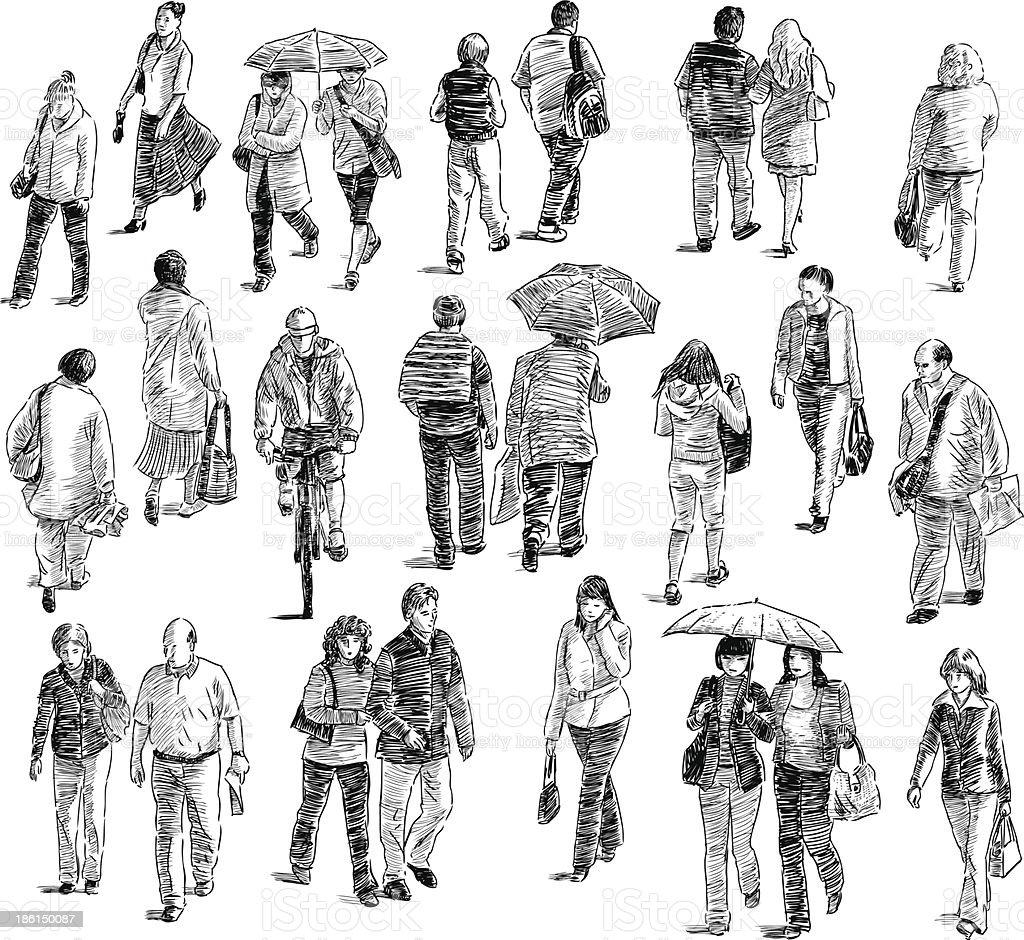walking people royalty-free stock vector art