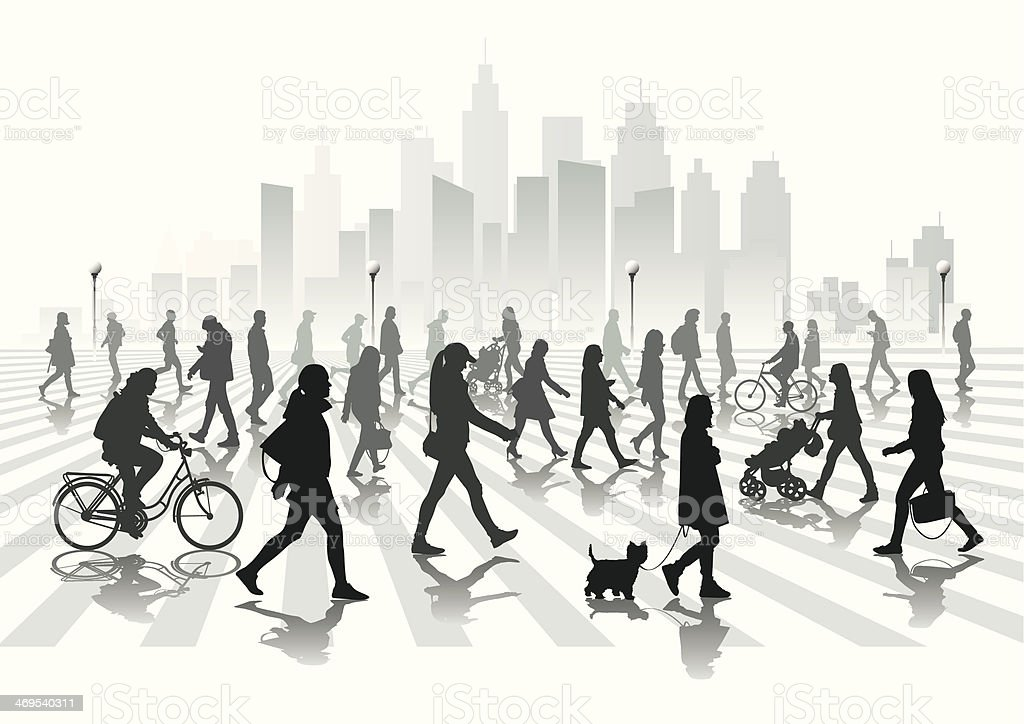 Walking people vector art illustration