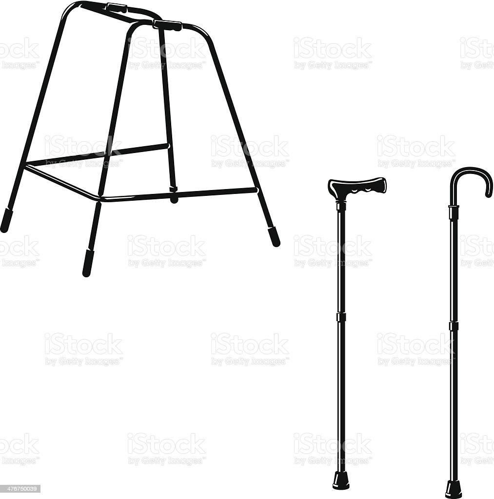 Walking Stick and Zimmer Frame vector art illustration