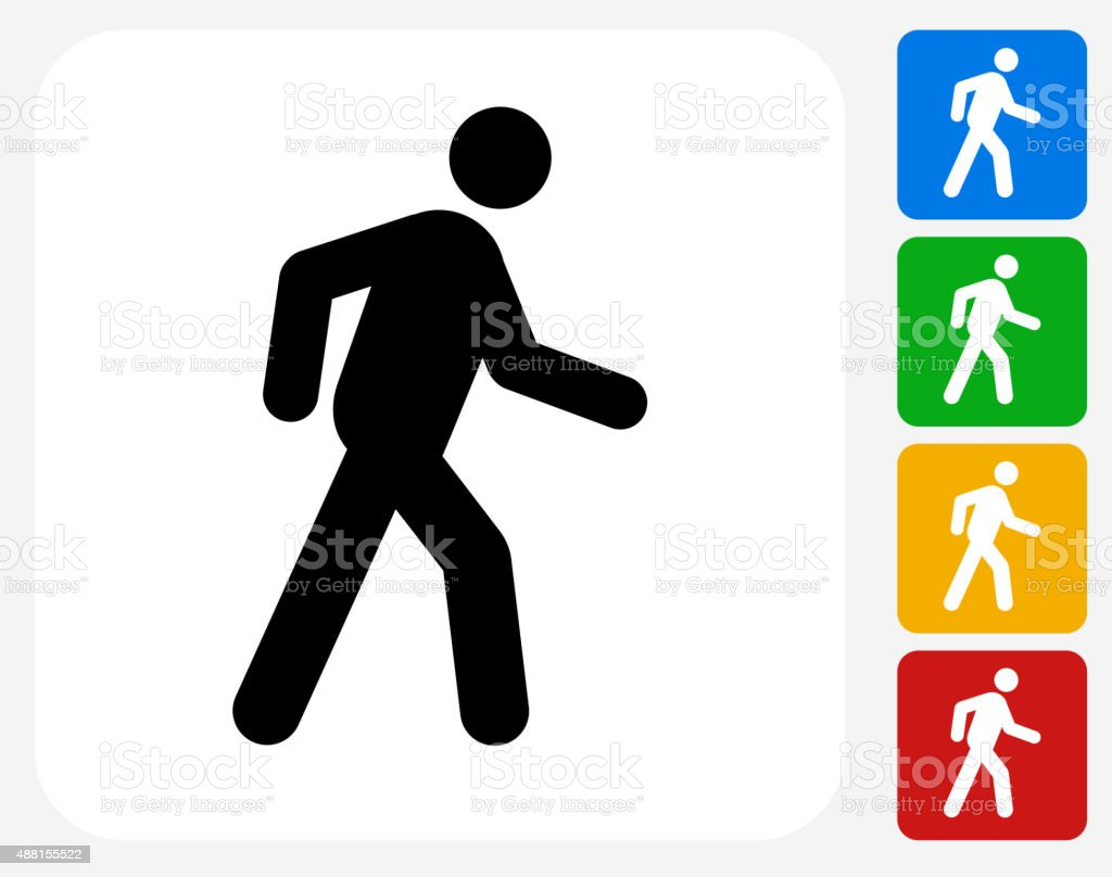 Walking Stick Figure Icon Flat Graphic Design vector art illustration