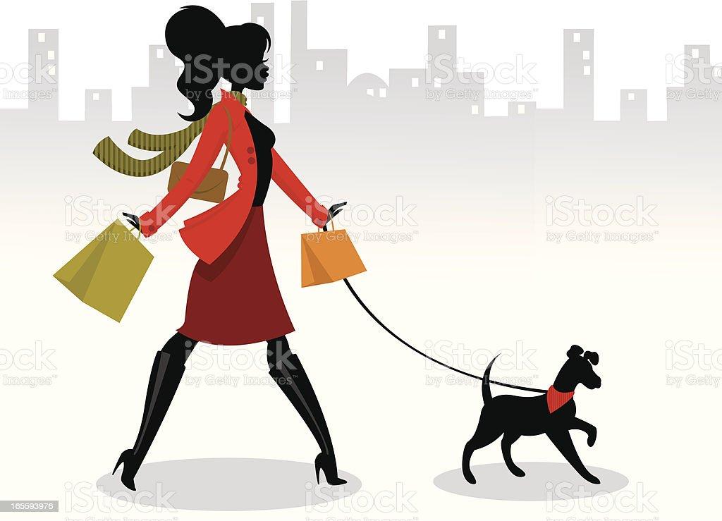 Walking the Dog vector art illustration