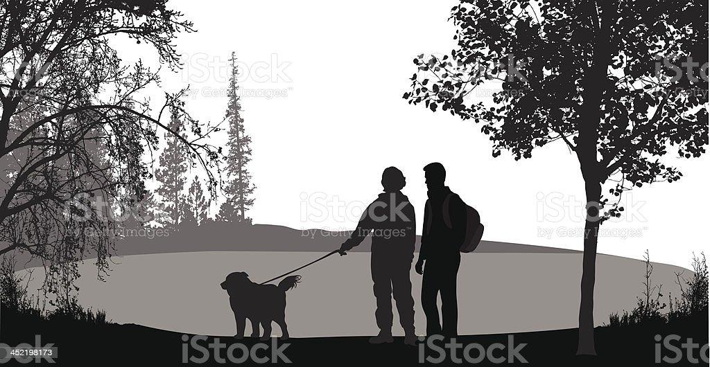 Walking The Dog royalty-free stock vector art