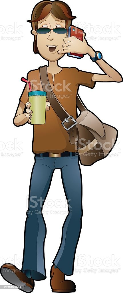 Walking the world vector art illustration