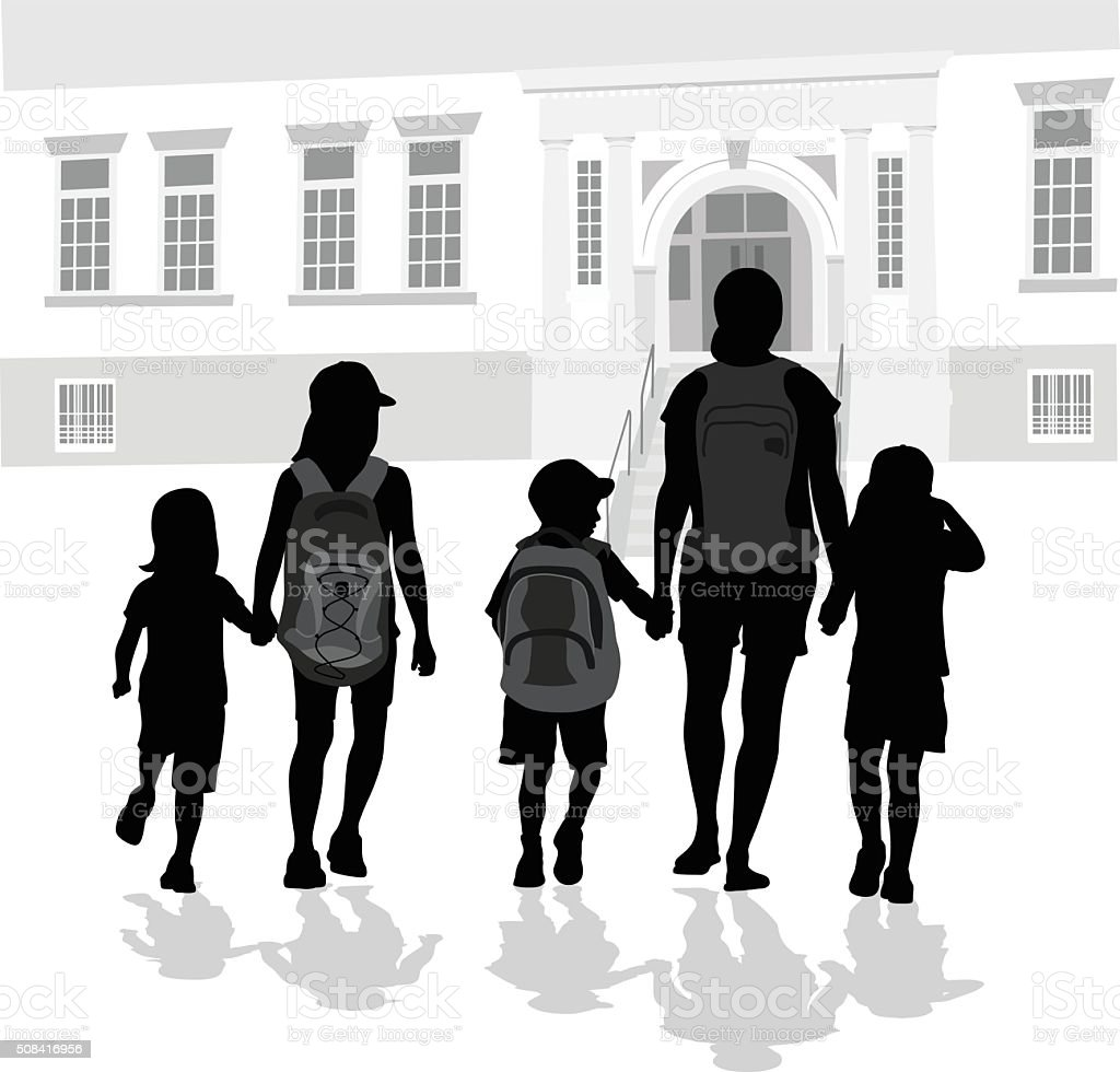 Walking To School With Mom vector art illustration