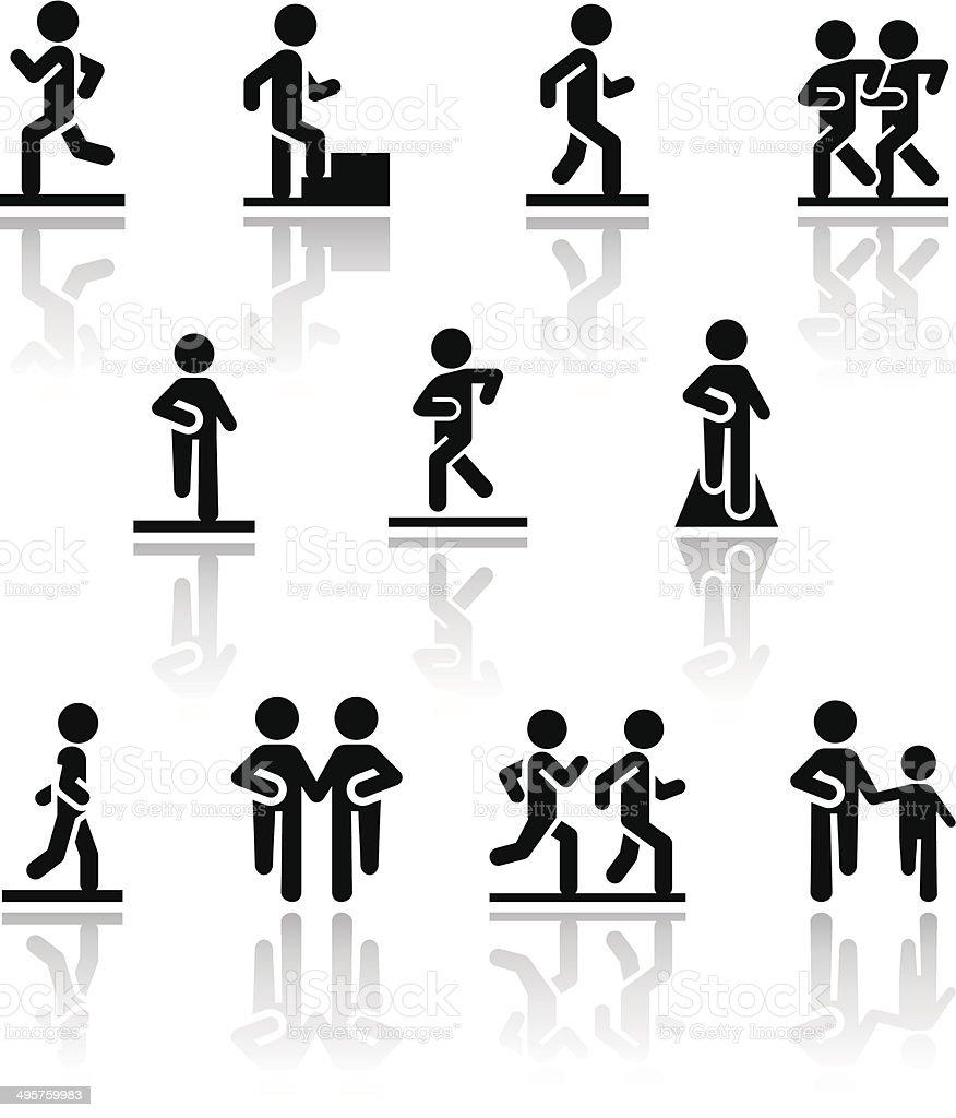 Walking vector icons set . EPS10. vector art illustration