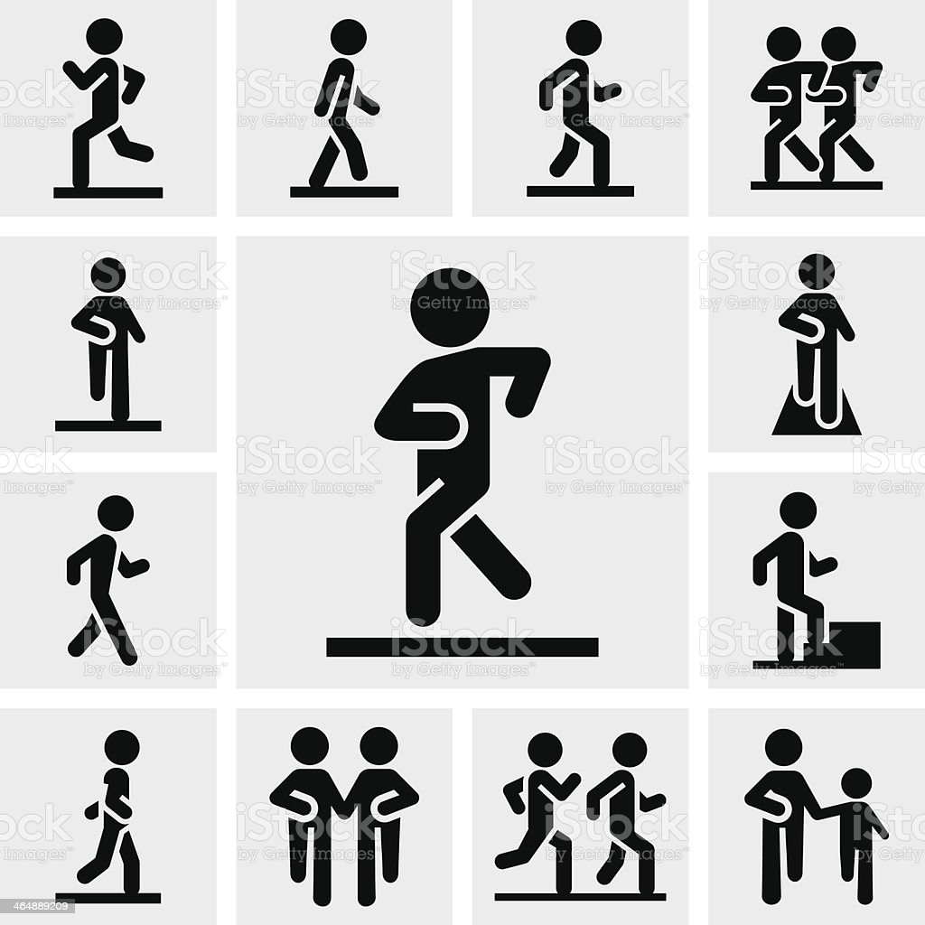 Walking vector icons set on gray vector art illustration