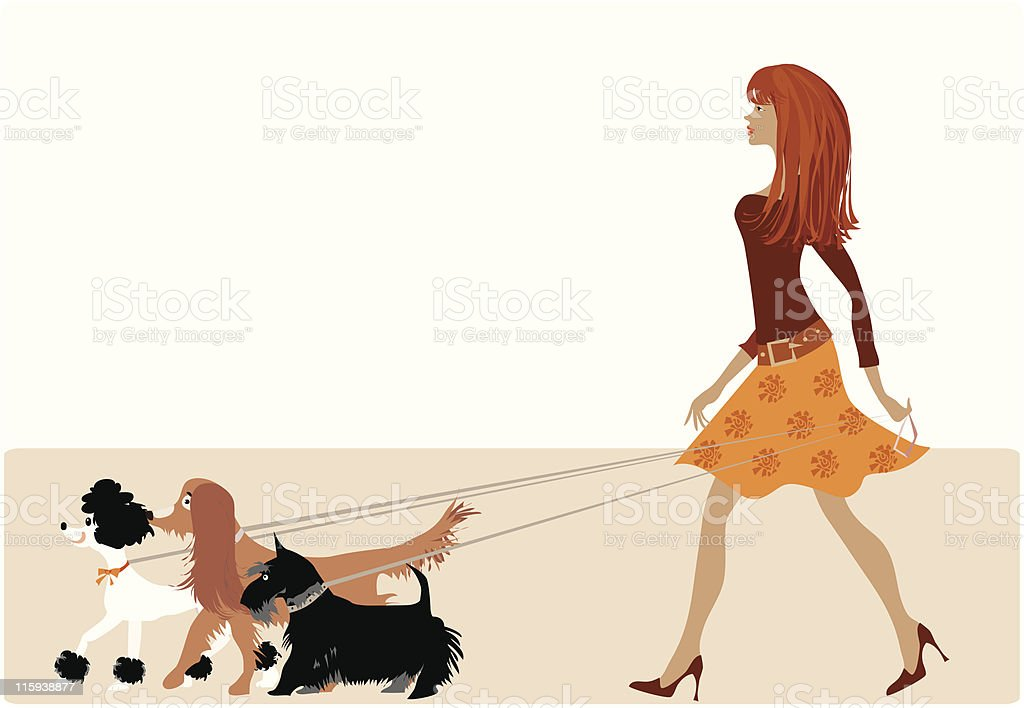 Walking with dogs royalty-free stock vector art