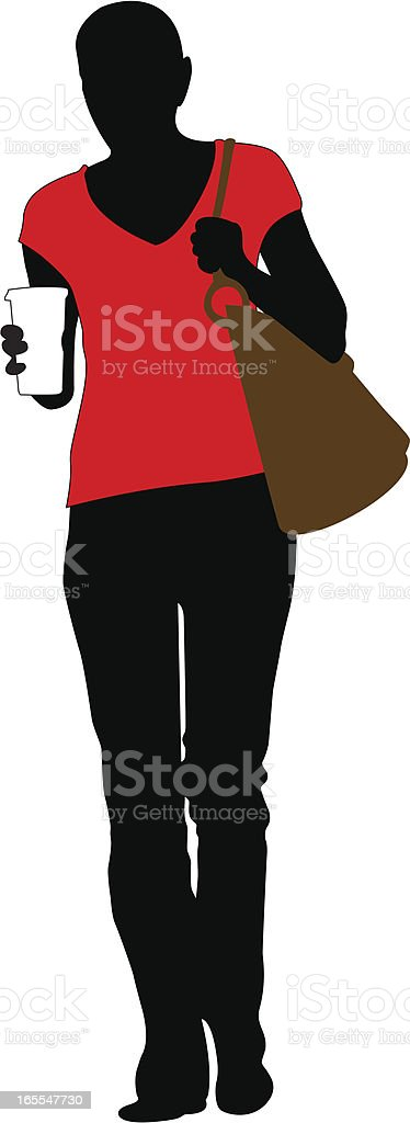 Walking Woman with Cup of Coffee royalty-free stock vector art