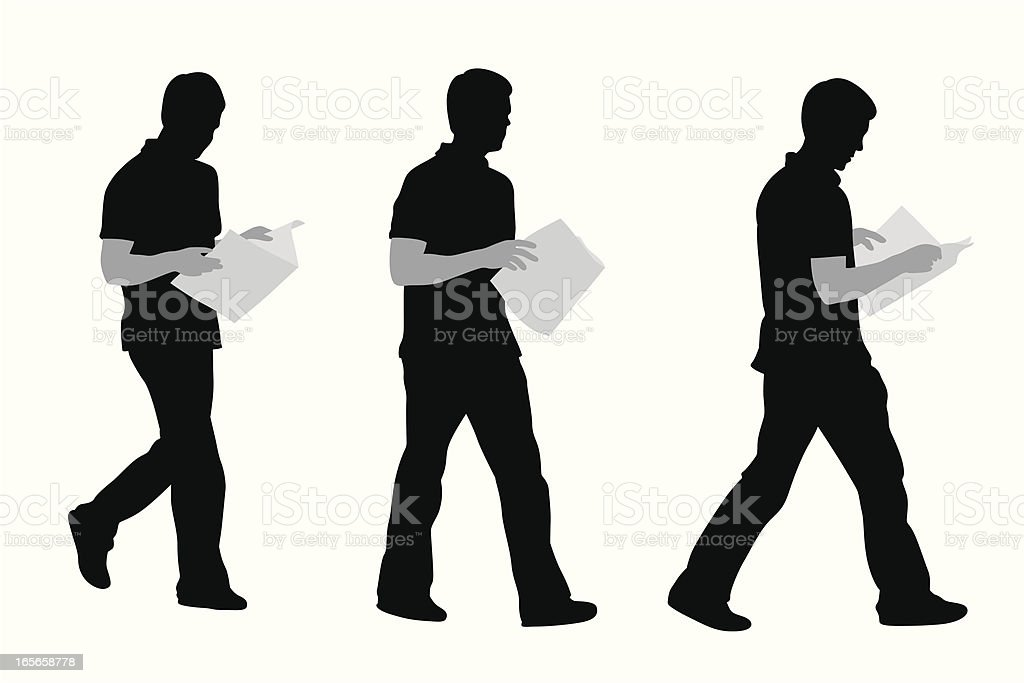 Walking'n Reading Vector Silhouette royalty-free stock vector art