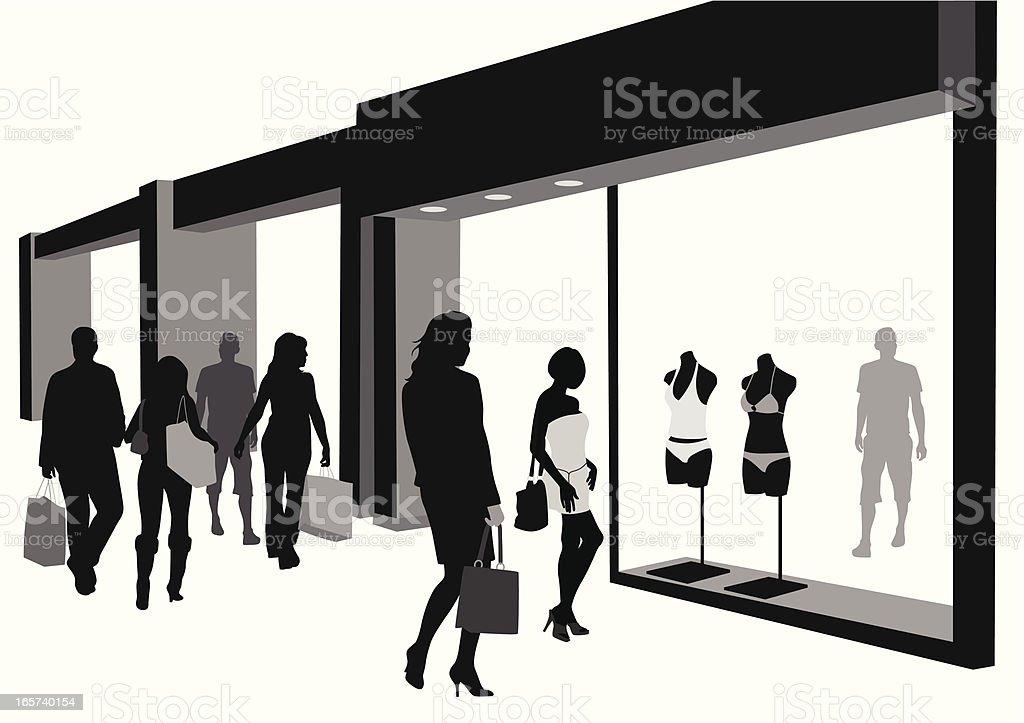 Walk'n Shop Vector Silhouette royalty-free stock vector art