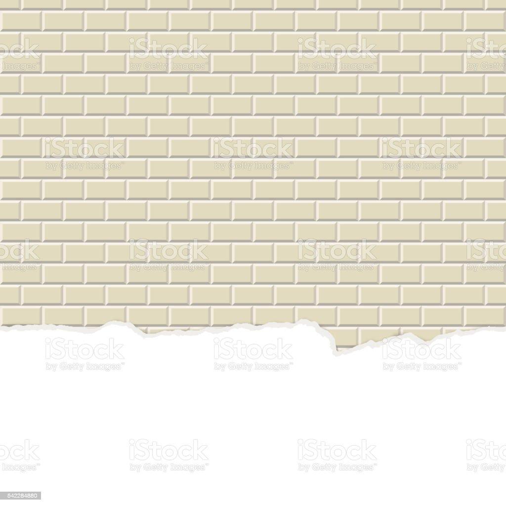 wall background with broken plaster seamless vector art illustration