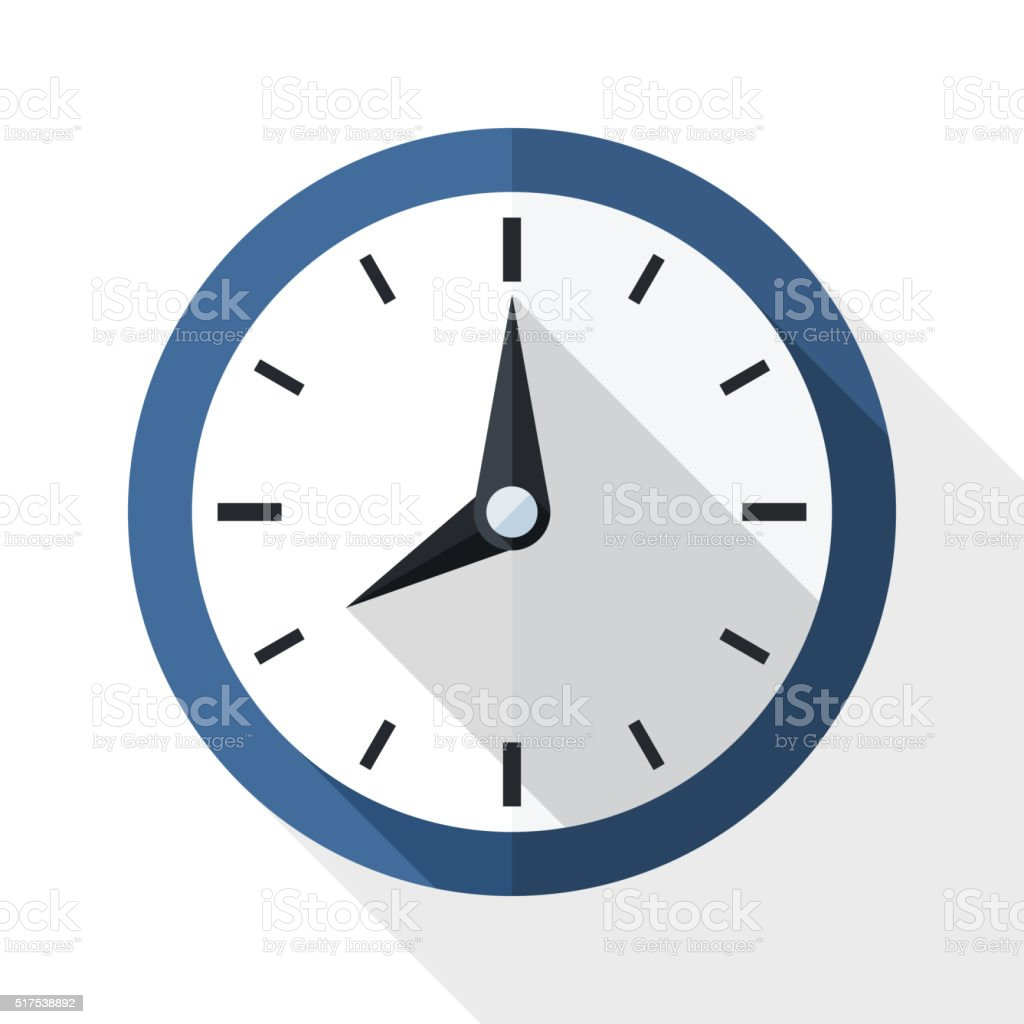 Wall clock icon with long shadow vector art illustration