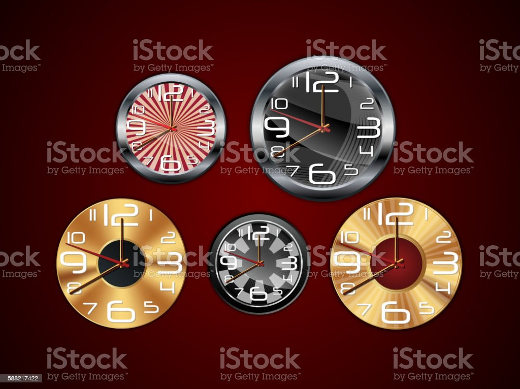 Wall clock on a red background vector art illustration