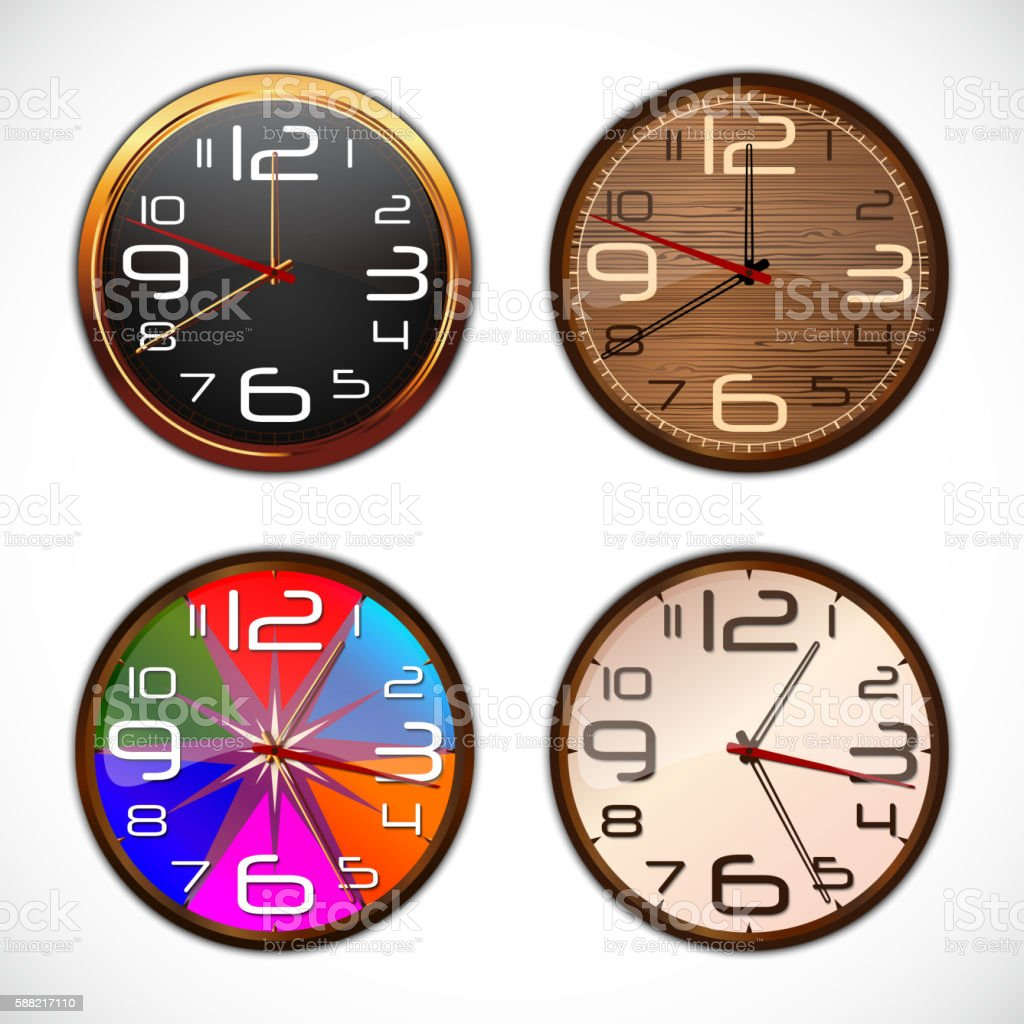 Wall clock on a white background vector art illustration