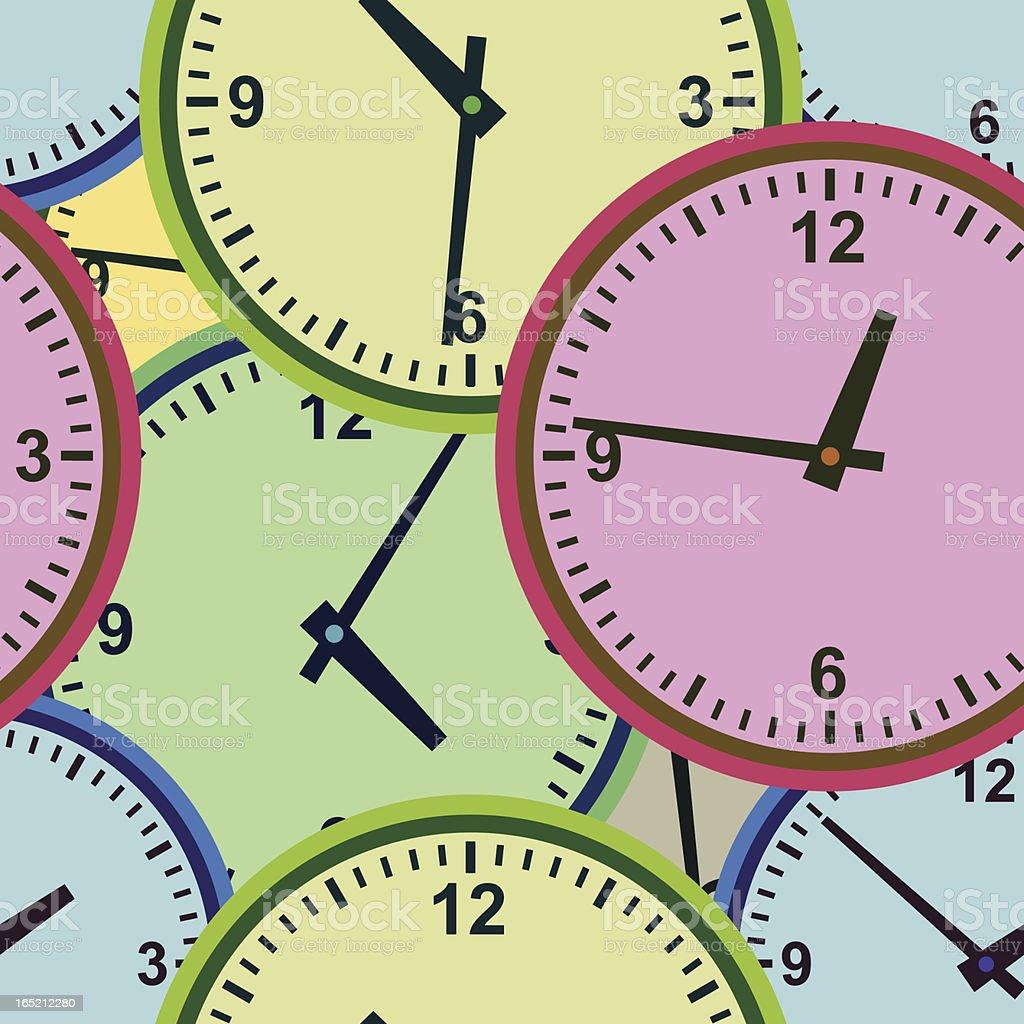 Wall clock. Seamless. vector art illustration