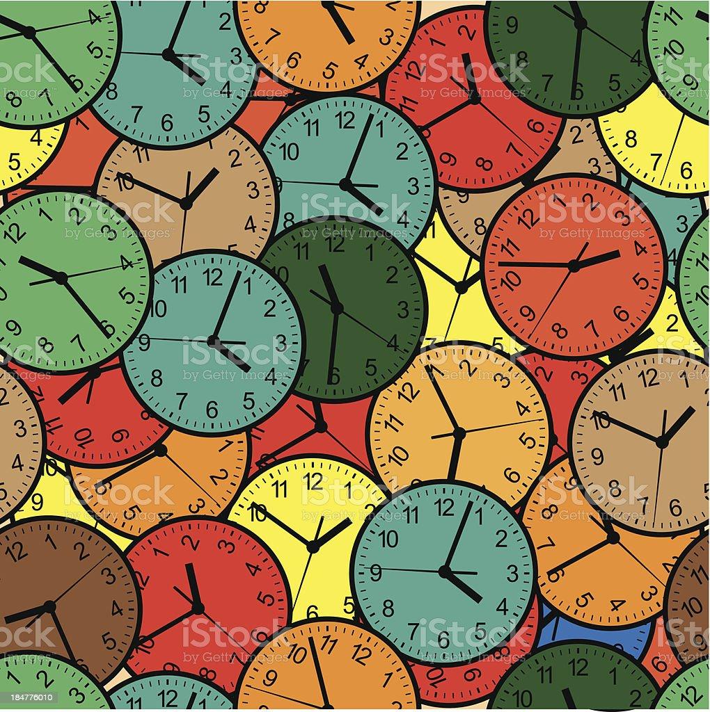 Wall clock. Seamless. royalty-free stock vector art