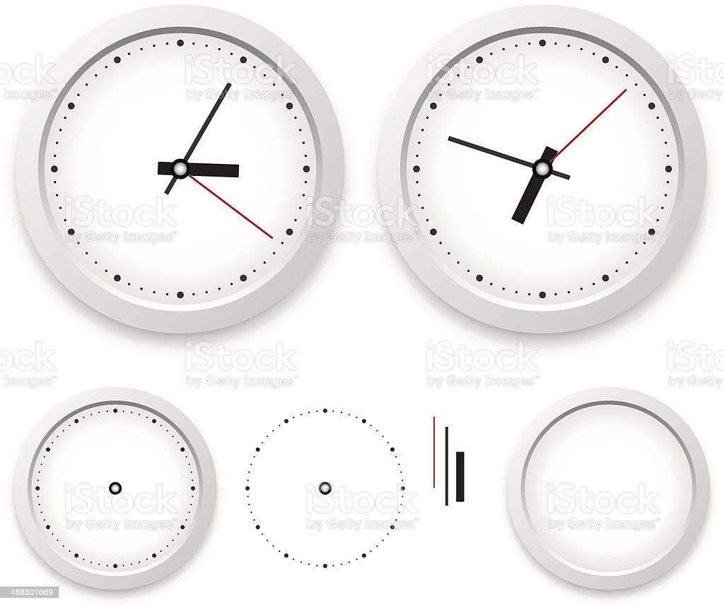 Wall clock template vector art illustration