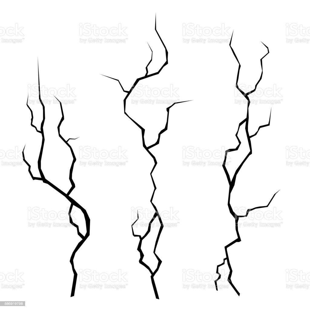 Wall Cracks Set on White Background. Vector vector art illustration