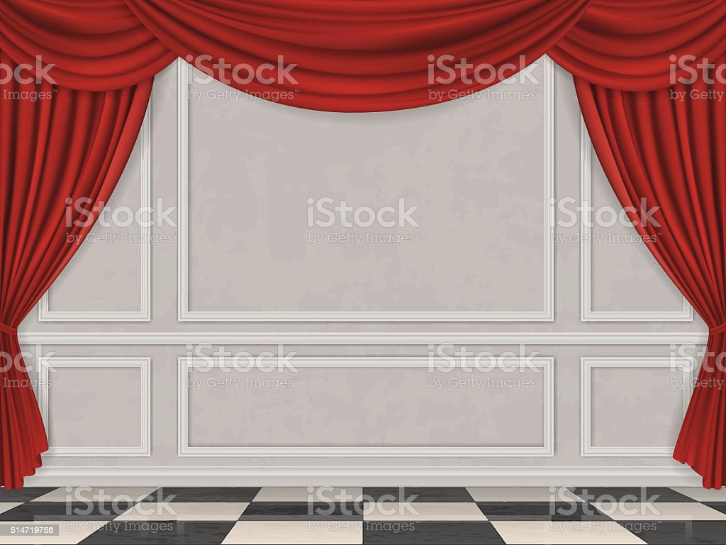 Wall decorated moulding panels checkered floor and red curtain vector art illustration