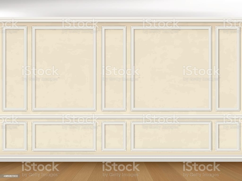 wall decorated panel mouldings in classic style vector art illustration