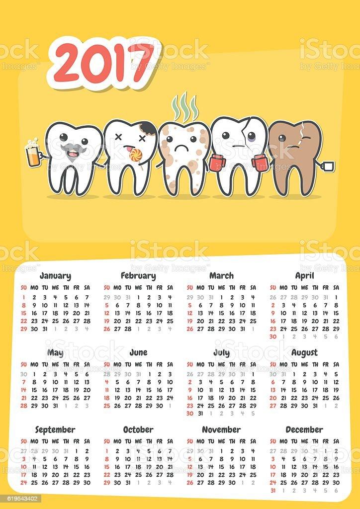 Wall dental calendar 2017. vector art illustration
