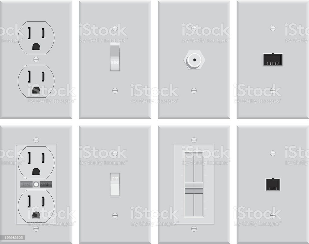 Wall Electrical Plates stock photo