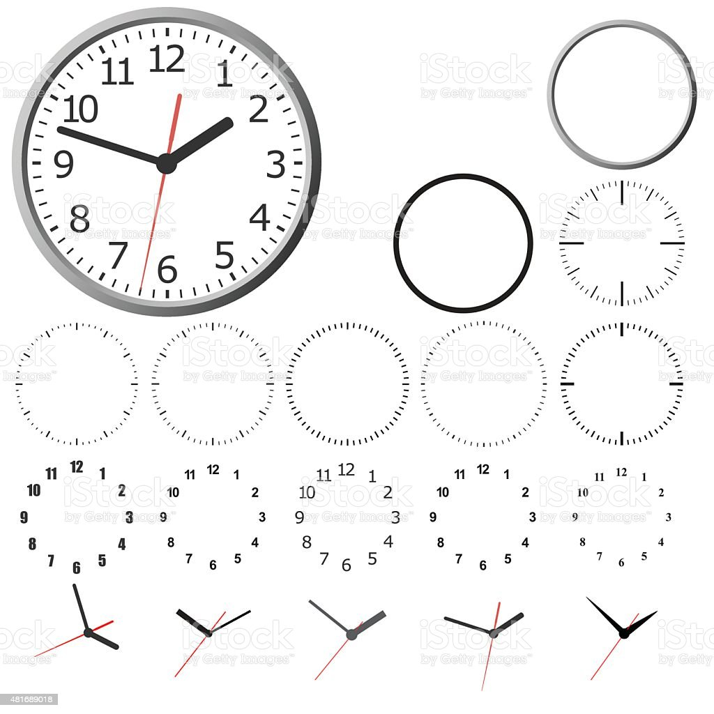 Wall mounted digital clock. vector art illustration