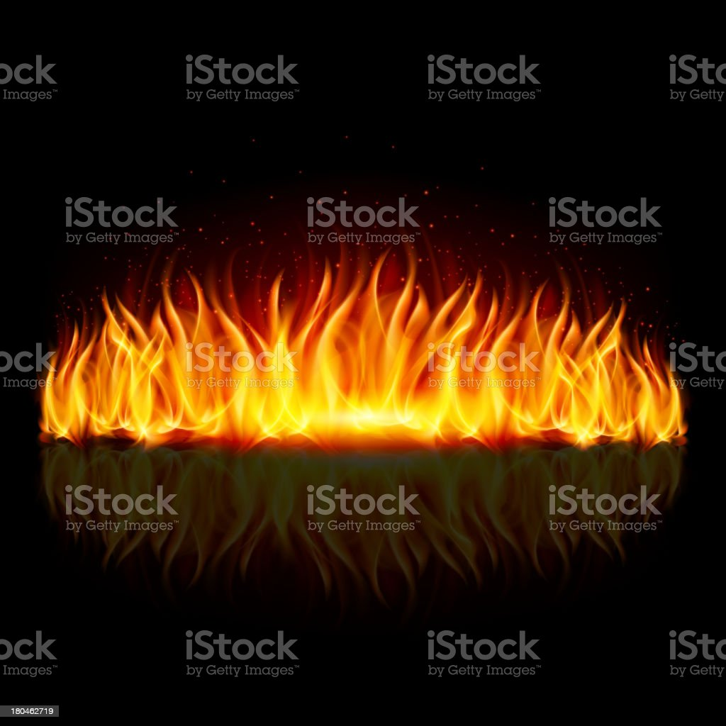 Wall of blue fire on black. vector art illustration