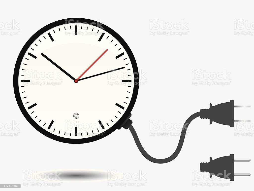 Wall office clock with connector plug royalty-free stock vector art