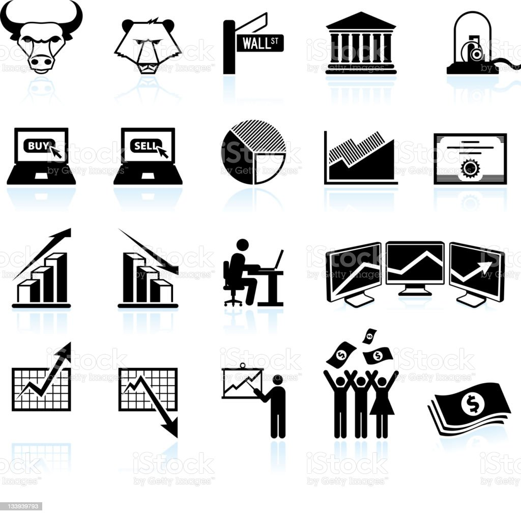 wall street and stock market black & white icon set vector art illustration