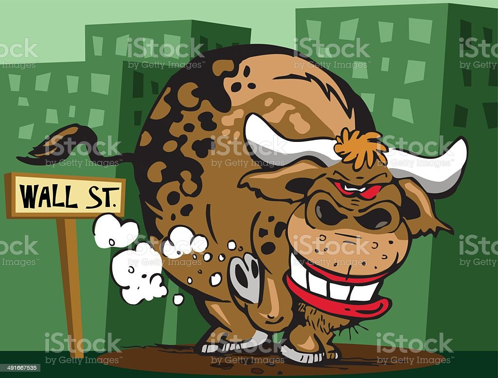 Wall Street Bull vector art illustration