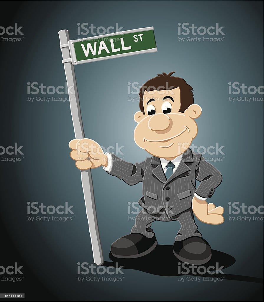 Wall Street Cartoon Businessman Sign royalty-free stock vector art